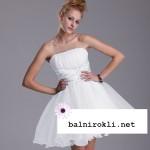 бяла къса рокля органза