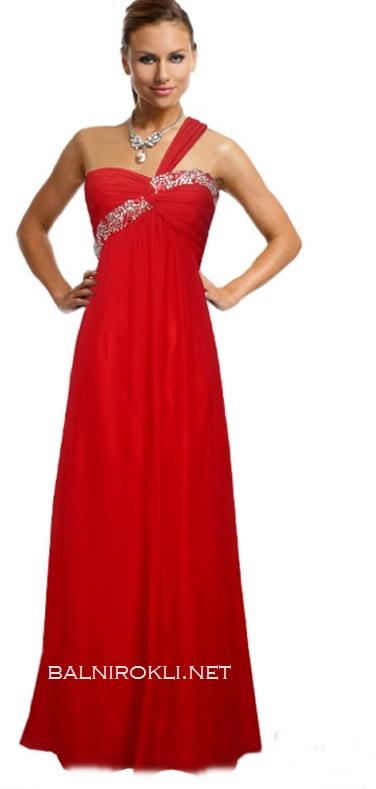 червена бална рокля едно рамо