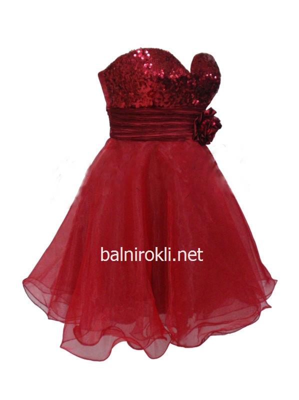 сладка червена бална рокля с пайети
