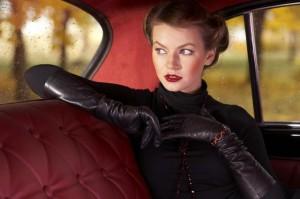 сълги супер секси черни кожени ръкавици в готик стил