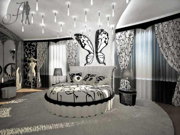 елегантна кръгла спалня черно и бяло