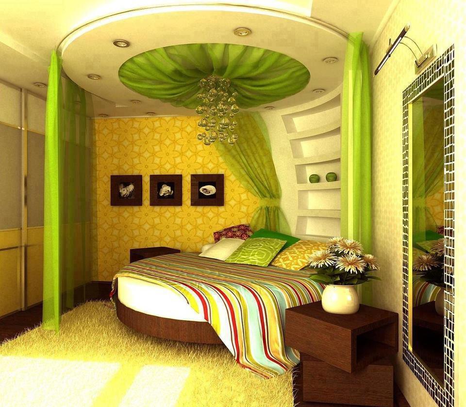 красива кръгла спалня в зелено