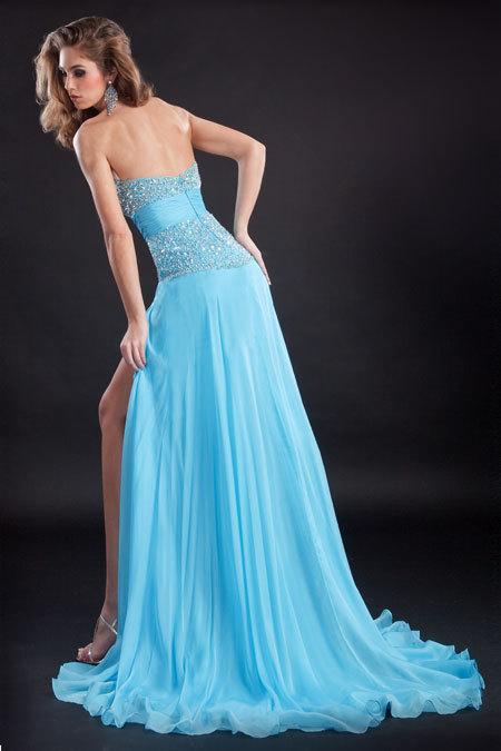 дълга синя рокля с цепка