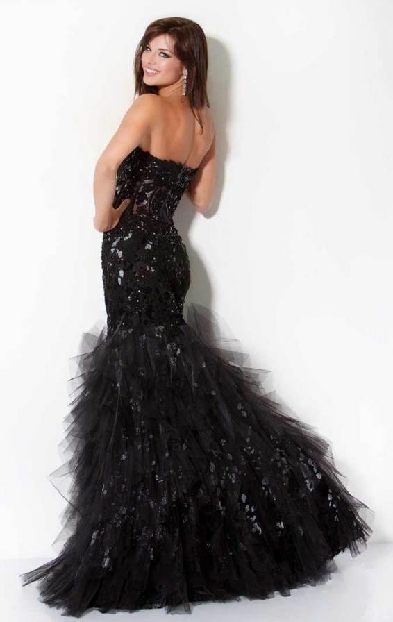 черна дълга бална рокля тип русалка