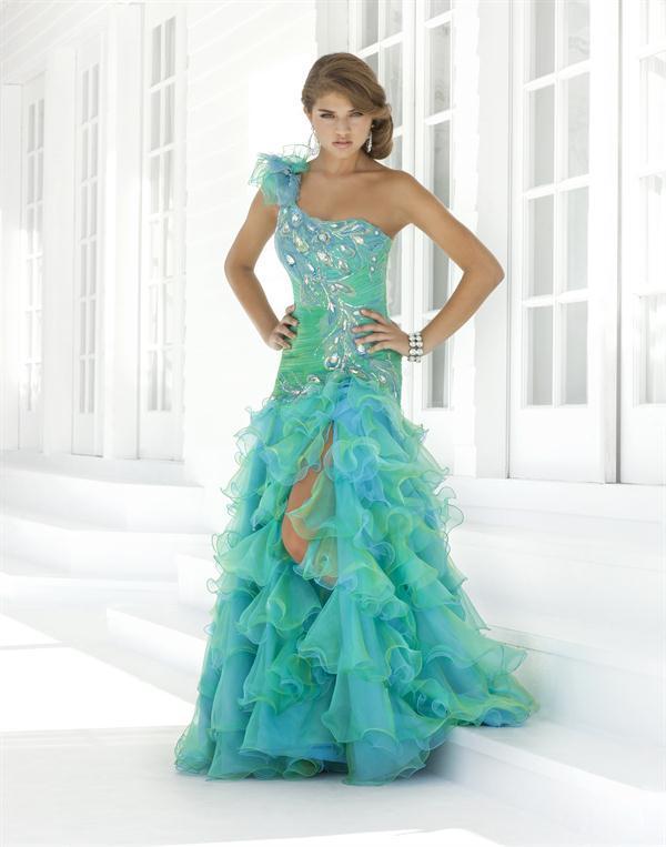 секси синя дълга рокля