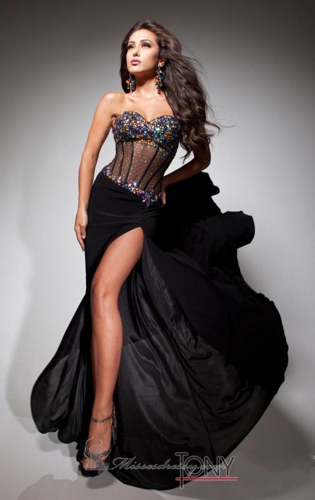 секси черна дълга рокля прозрачен корсет