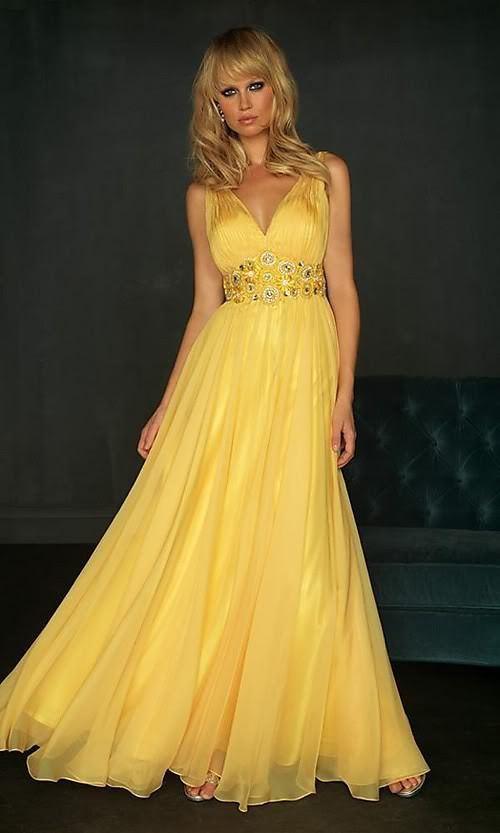 дълга жълта бална рокля