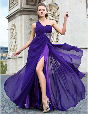 Лилава Дълга Бална рокля