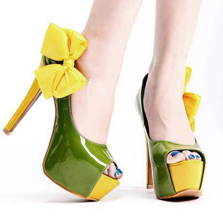 зелени обувки с висок ток