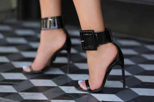 секси черни бални сандали