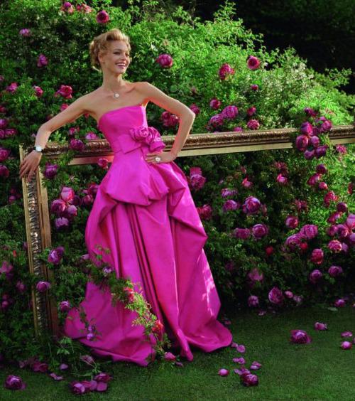 розова дълга бална рокля
