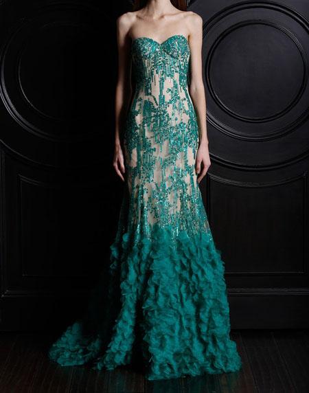 дълга рокля зелена дантела