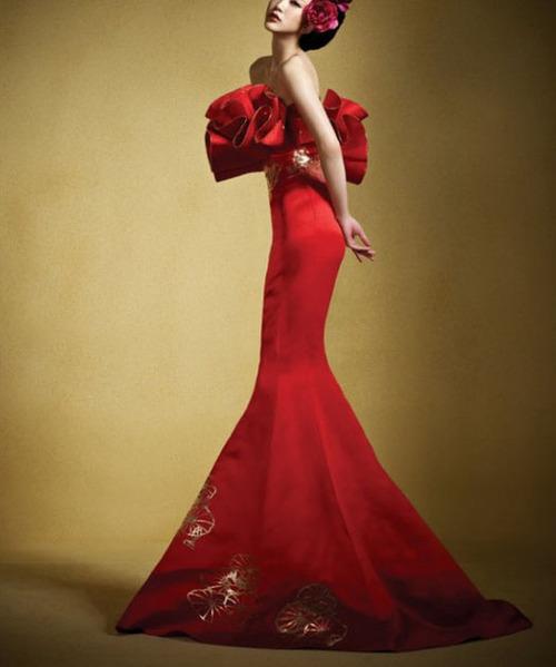 секси червена вечерна рокля