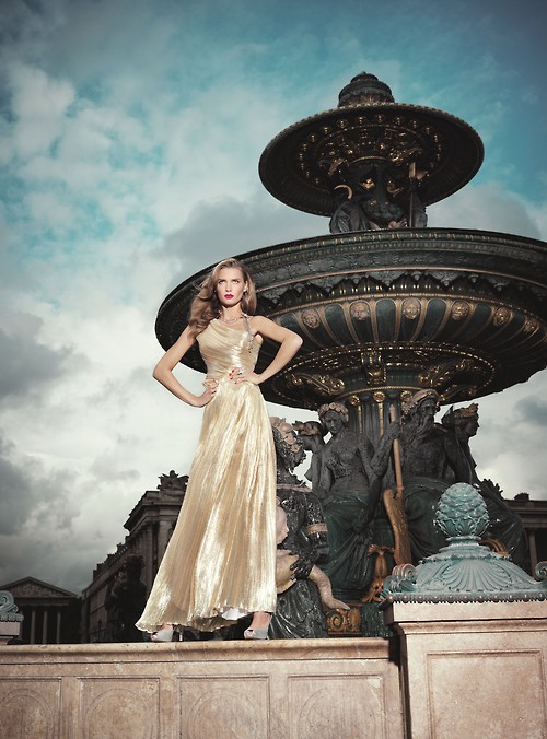 златиста дълга официална рокля