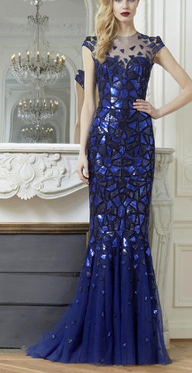 блестяща дълга синя официална рокля