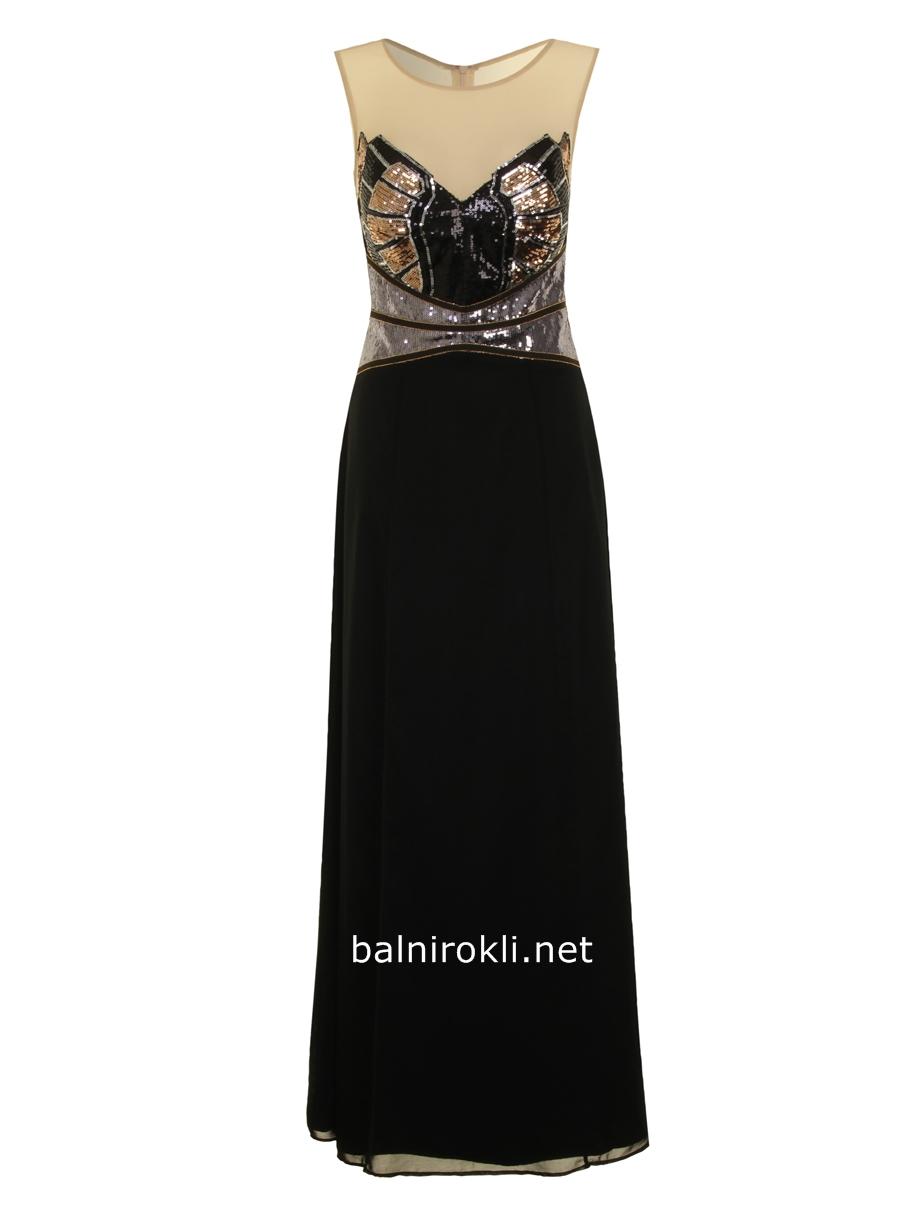 бална черна рокля със златисто бюстие