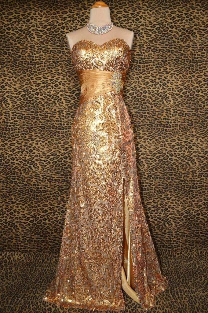 дълга официална бална рокля пайети