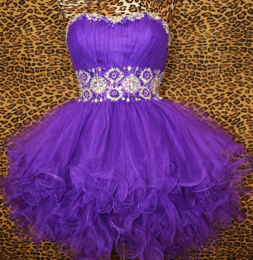 къса лилава абитуриентска рокличка тюл