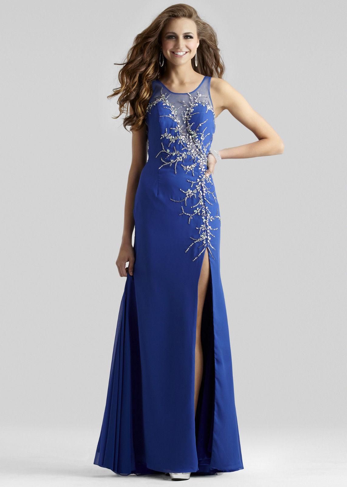синя дълга бална рокля