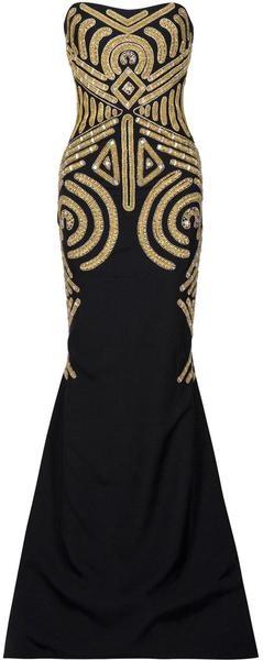 черна рокля със златни декорации