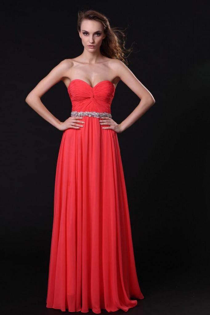 официална дълга червена рокля