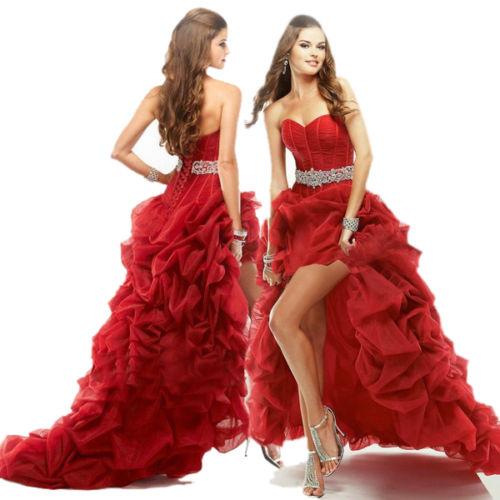 бална червена рокля