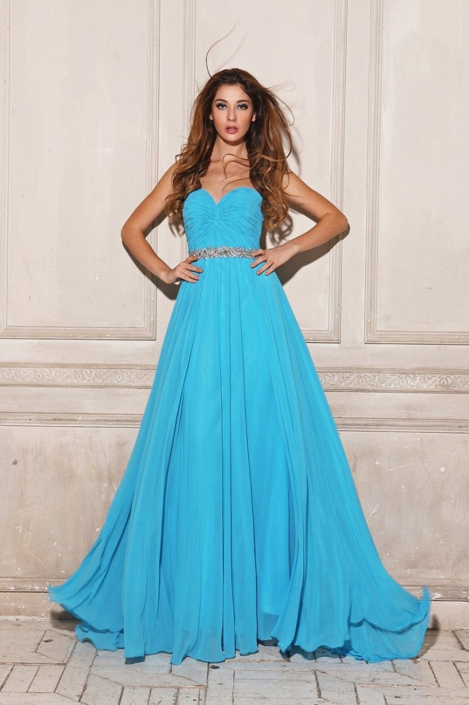 синя официална рокля