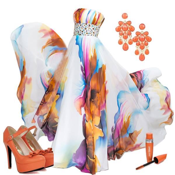 оранжеви обувки за бал с бяла рокля