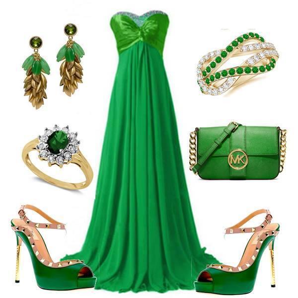 зелена бална рокля и зелени обувки