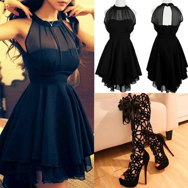 черни обувки и черна рокличка
