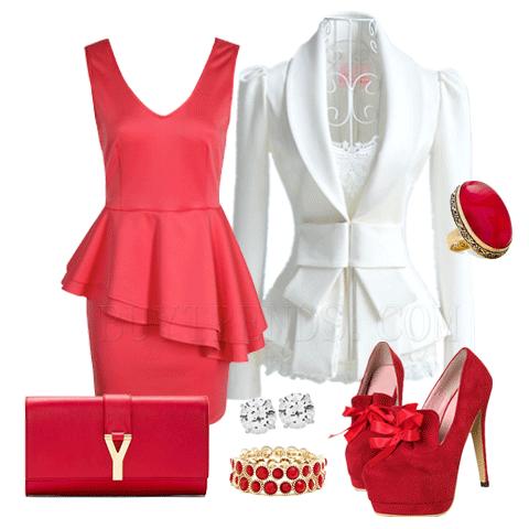 червена къса парти рокля и аксесоари