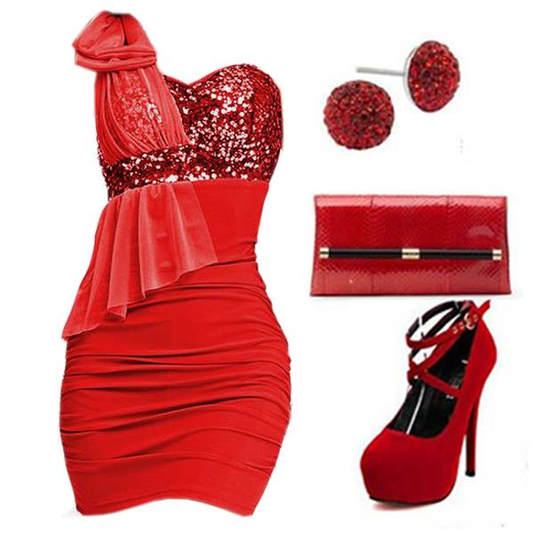 червена рокля с червени обувки