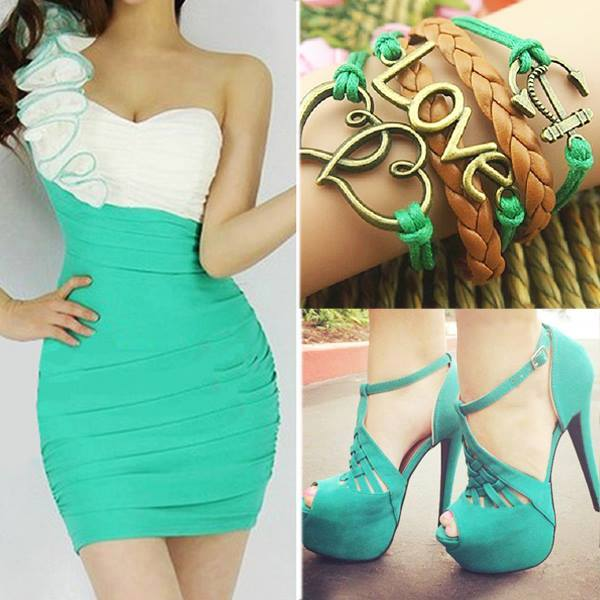 зелени обувки и зелена рокля