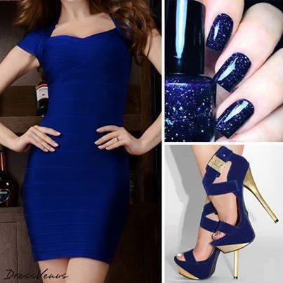син лак със синя рокля и сини обувки