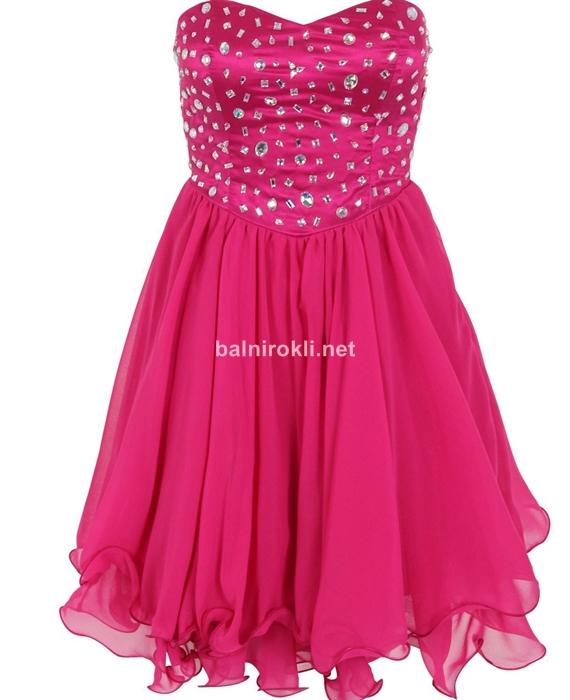 къса бална розова рокля с кристали