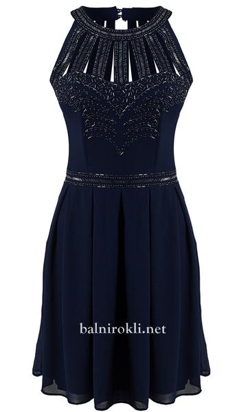 елегантна къса синя бална рокля