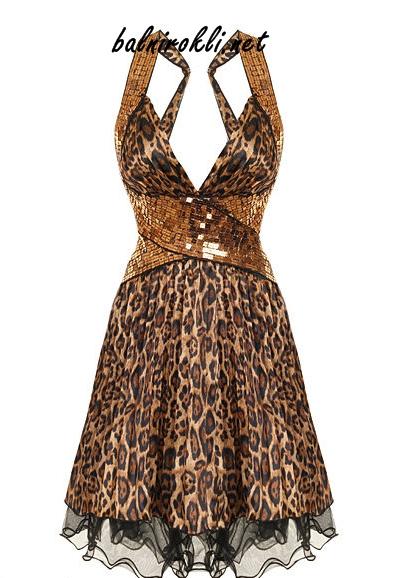 къса бална рокля леопард