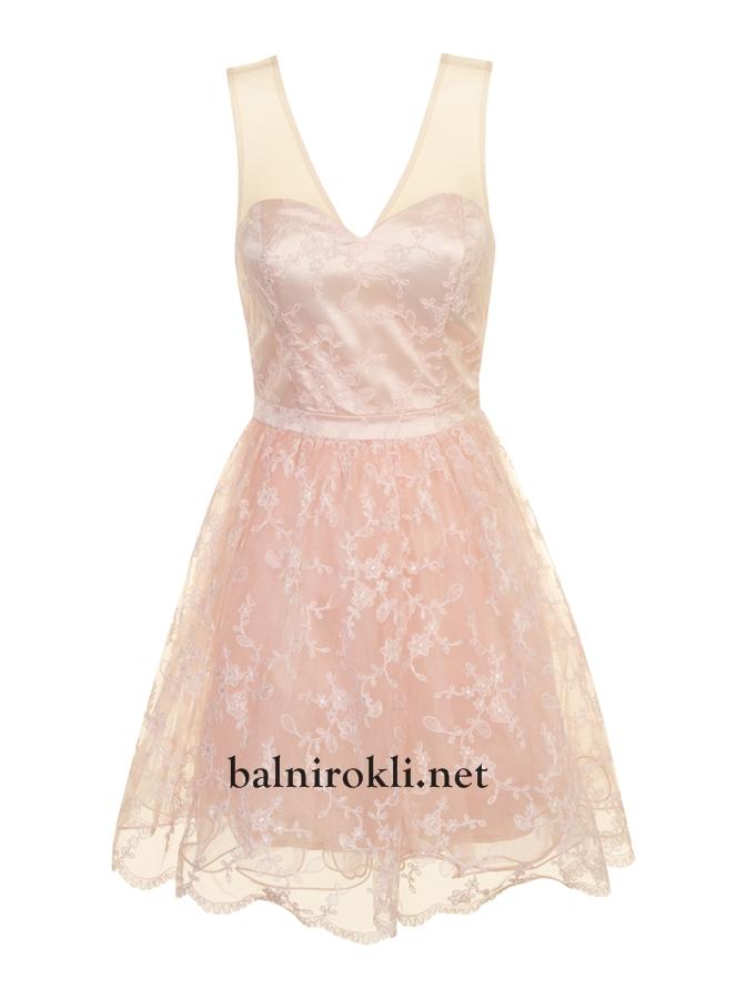 елегантна къса рокля пепел от рози