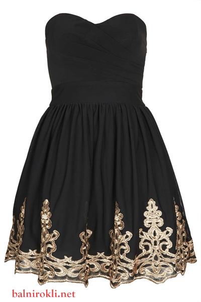 къса черна бална рокля със златна декорация