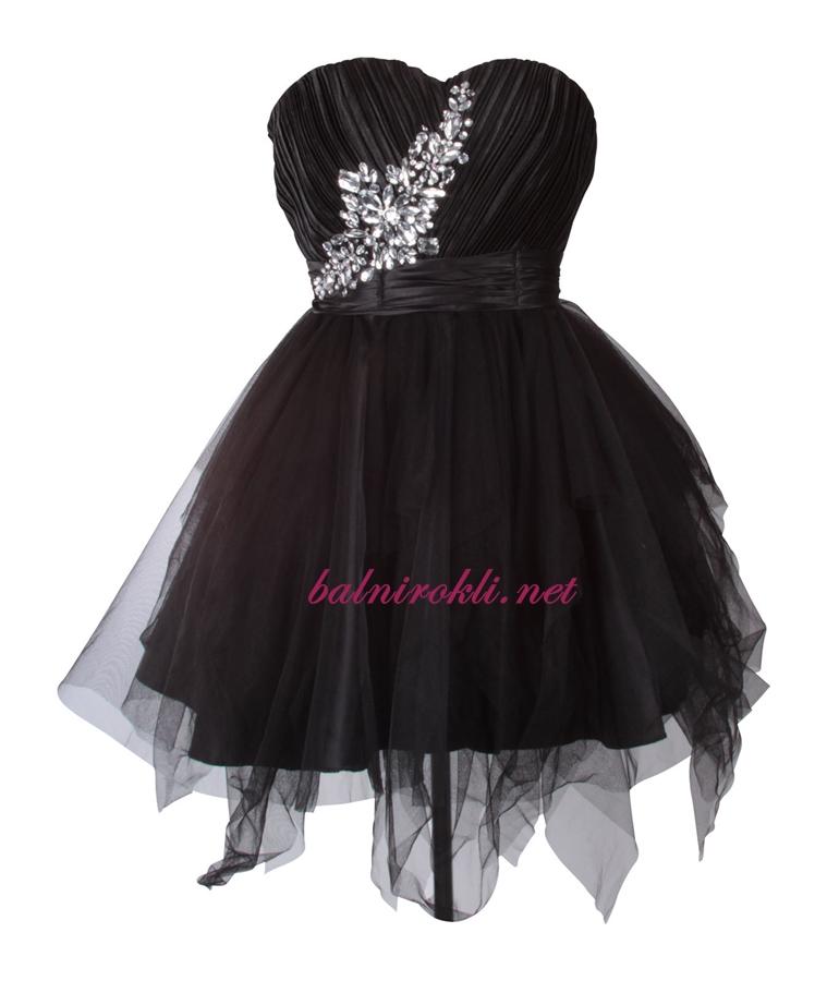 абитуриентска  къса бална рокля диаманти