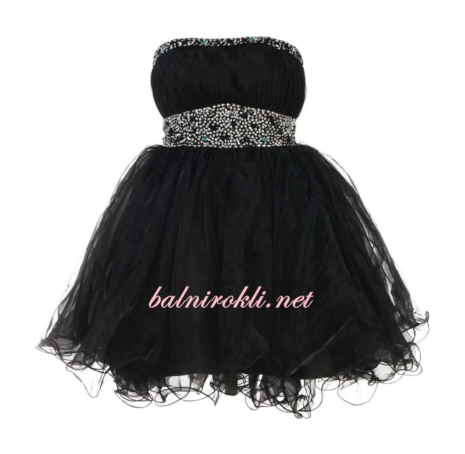 черна къса абитуриентска рокля с пайети и камъни