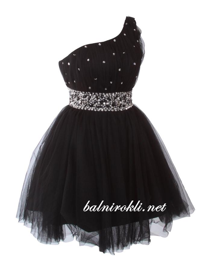 абитуриентска къса черна рокля едно рамо 2014