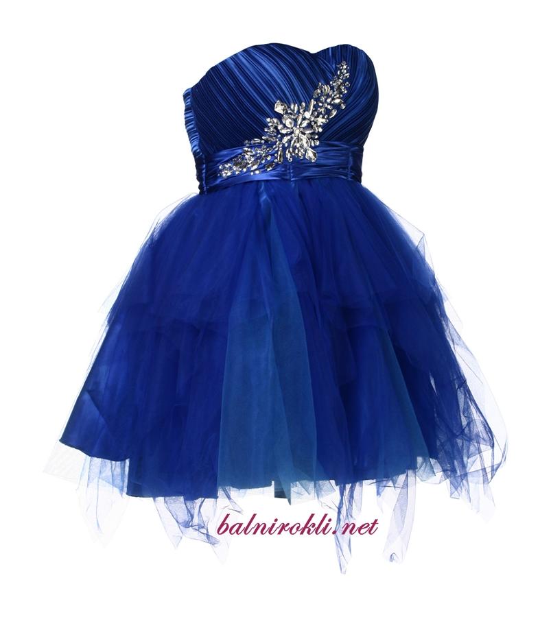 абитуриентска къса синя бална рокля с диаманти 2014