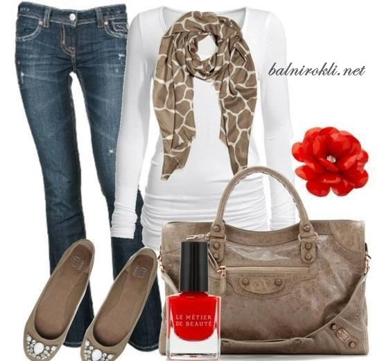 ежедневна визия дънки,чанти ,обувки и блузка
