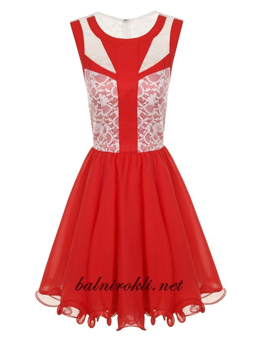 абитуриентска къса рокля корал и дантела