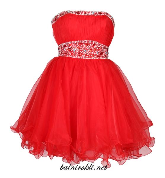 червена бална абитуриентска рокля