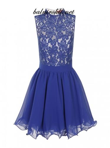 синя официална рокля дантела и шифон
