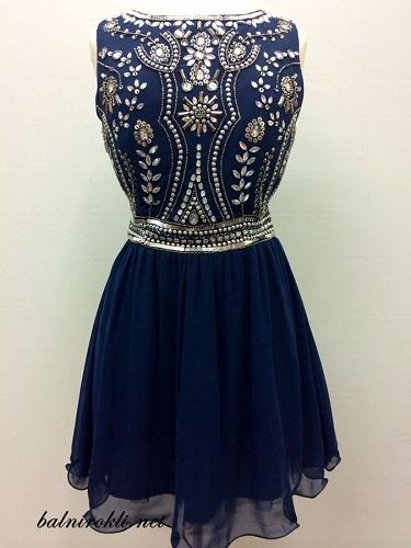 къса официална тъмносиня рокля