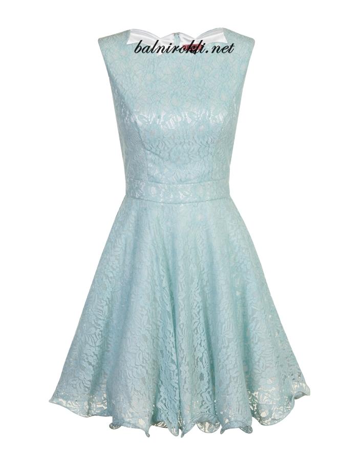 дантелена бална рокля ментов цвят