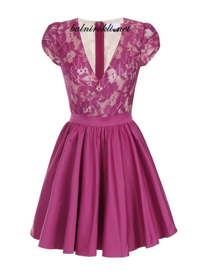 къса лилава официална рокличка с дантела